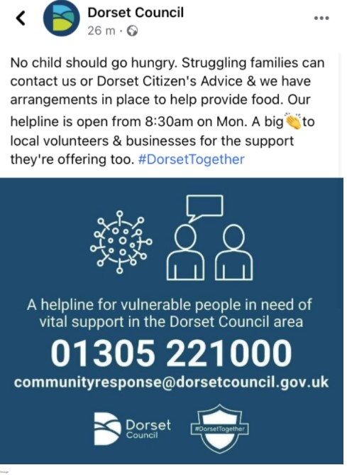 I copy of an announcement by Dorset Council of support for struggling families giving the phone number 01305 221000