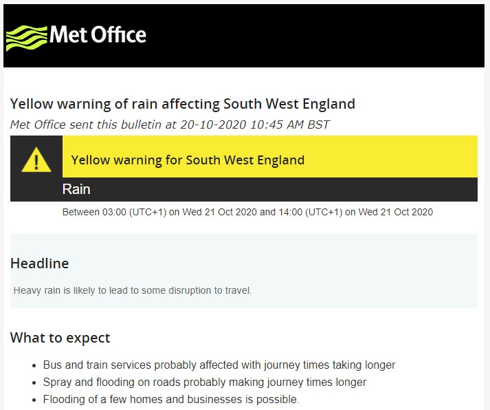 A piture of the Met Office yellow weather warning for rain between 03:00 and 14:00 on 21st November